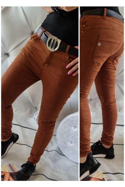 jeans baggy skořice trendy stylovky pohodlné