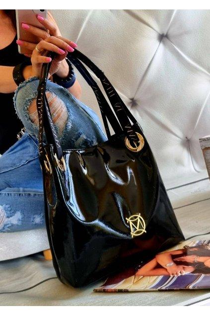 kabelka Massimo Contti černá italy fashion luxusní značková kabelka trendy blacky lak