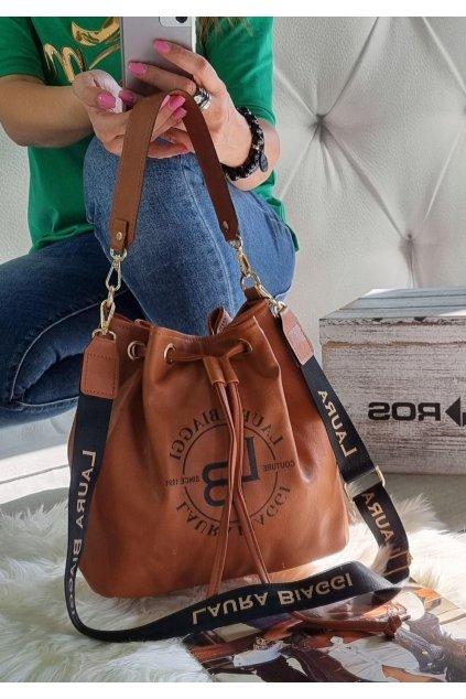 kabelka Laura Biaggi pytel koňak značková luxusní trendy kabelka