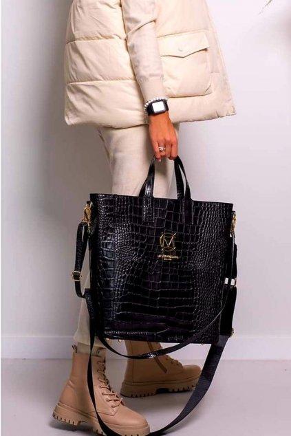kožená kabelka velká trendy massimo italy fashion black