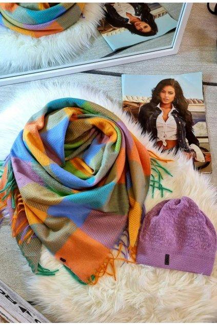 sladěný set čepice a šátku tip na dárek pro ženy lila barva