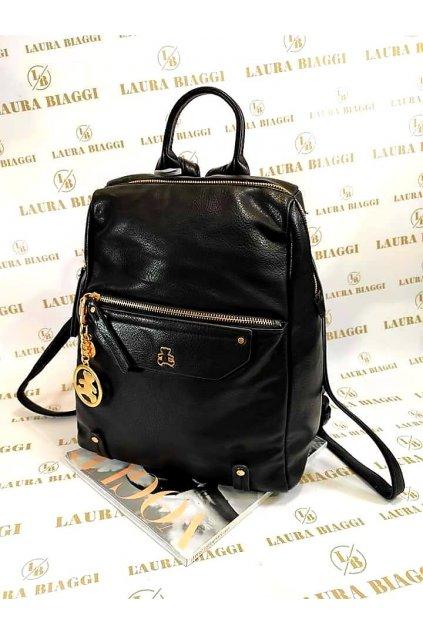 Dámský stylový černý batoh s přívěskem medvídka