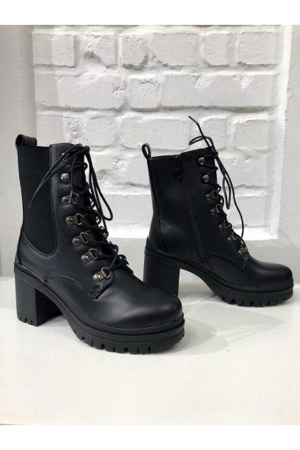 Stylové dámské kotníkové boty na šněrování černé