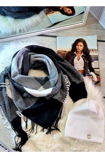 sladěný set čepice a šátku tip na dárek pro ženy černobílá kombinace