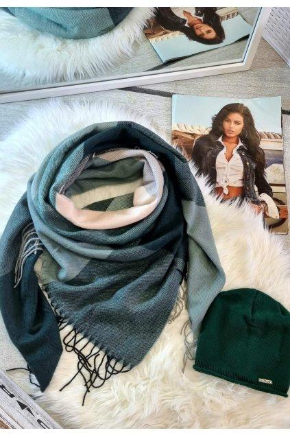 sladěný set čepice a šátku tip na dárek pro ženy zelené barvy