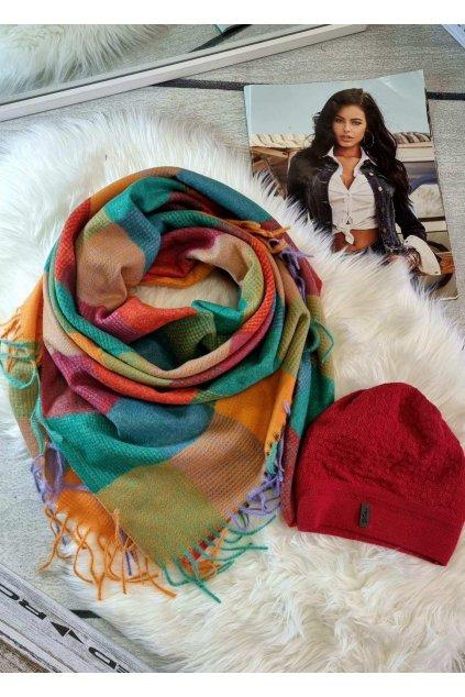 sladěný set čepice a šátku tip na dárek pro ženy mix barev do červené barvy