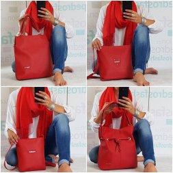 Sladěné sety kabelky a šály v červené