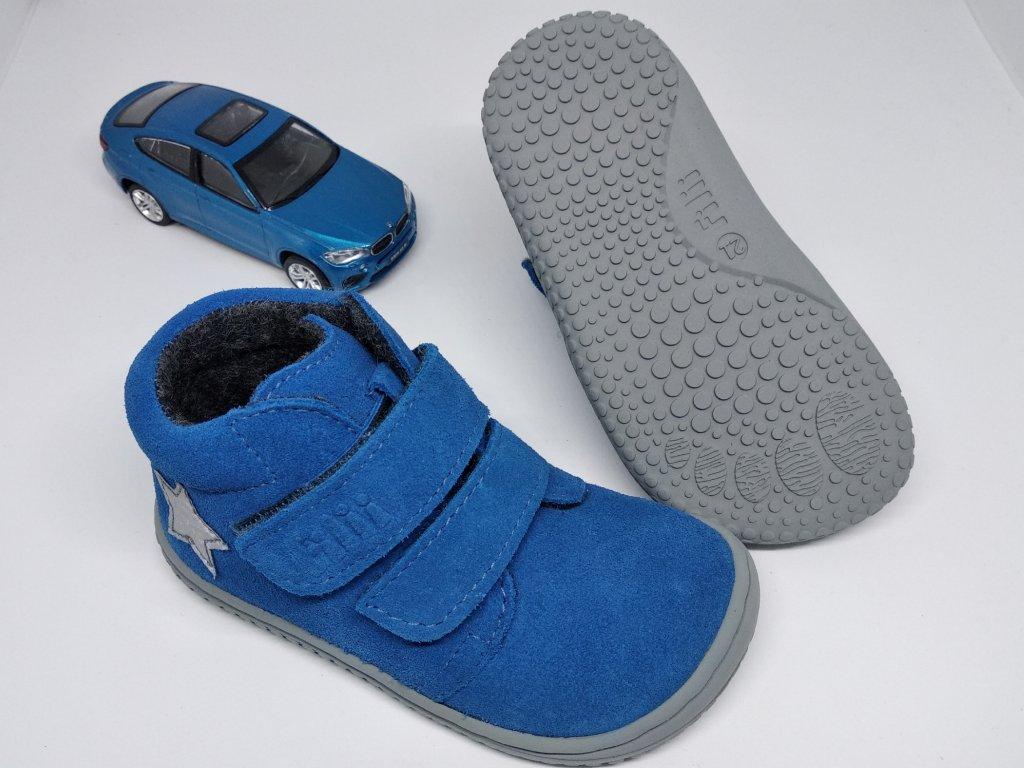 Filii CHAMELEON velours electric blue velcro M Celoročné topánky