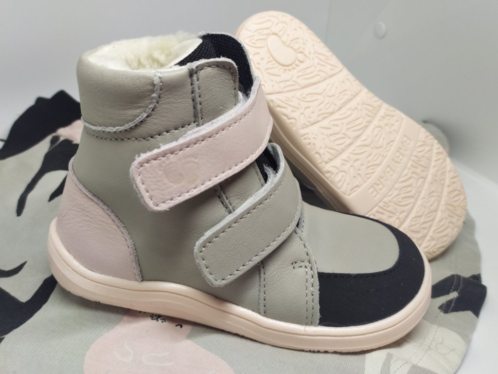 BABY BARE SHOES FEBO WINTER GREY PINK s okopom asfaltico