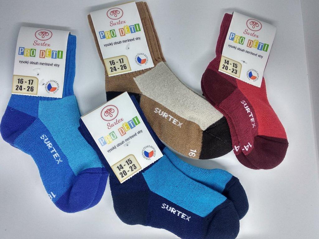 SURTEX  ponožky pre deti AEROBIC 80% merino vlnené