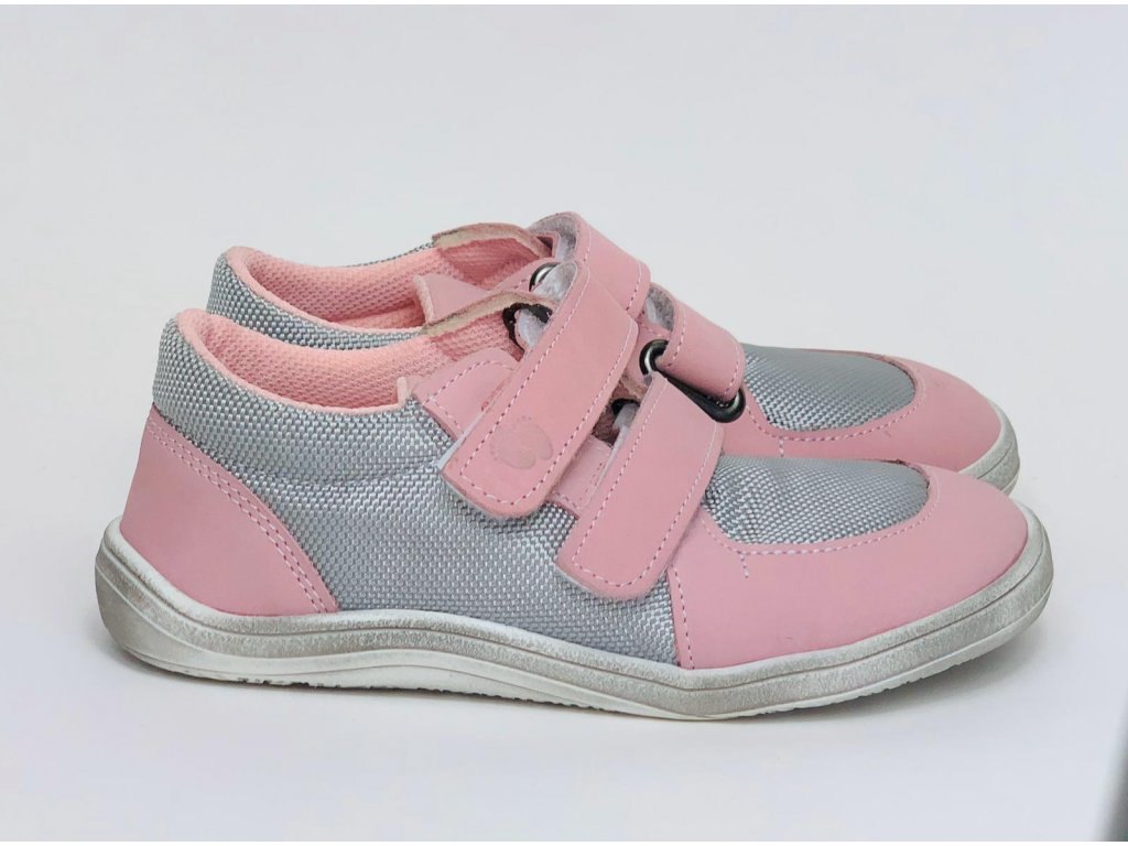 Baby Bare Shoes Febo Sneakers Grey/Pink stieraná podošva