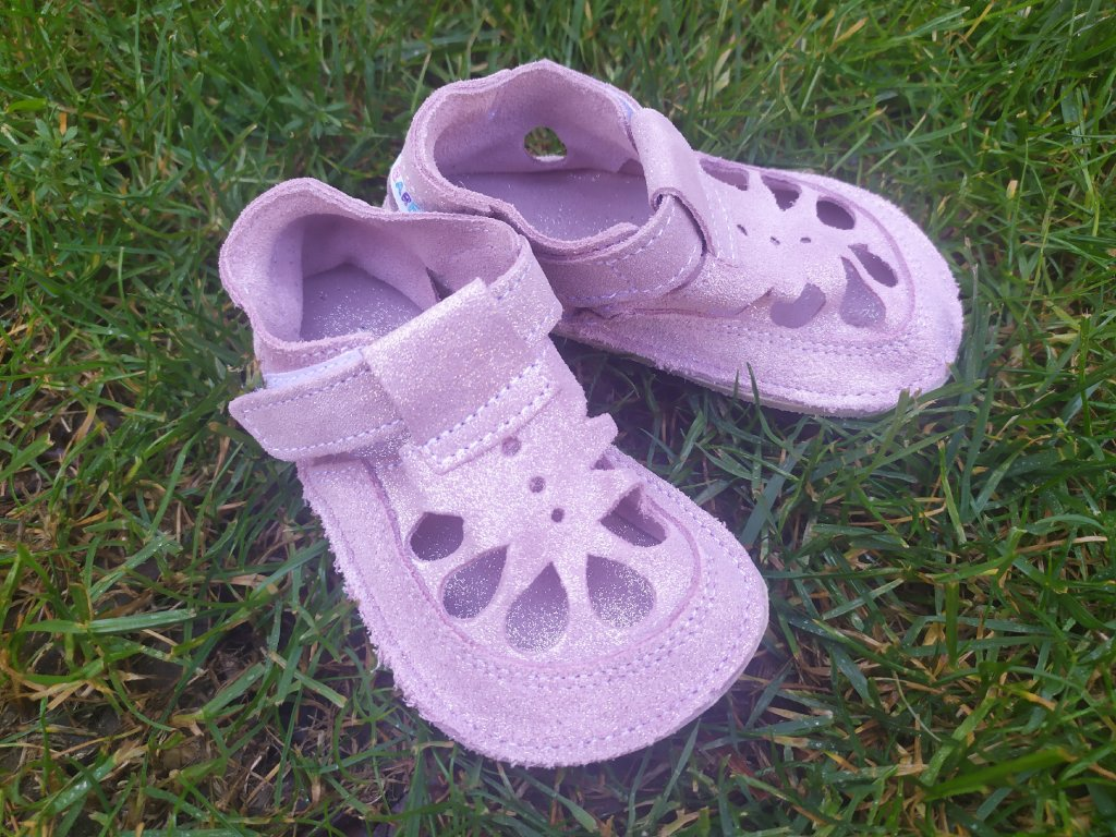 Baby Bare Shoes Sparkle Pink - Summer Perforation