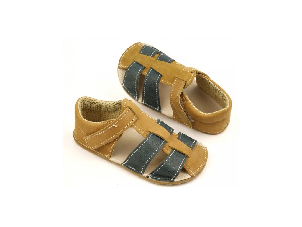 Ef Barefoot sandálky Olivová tmavá