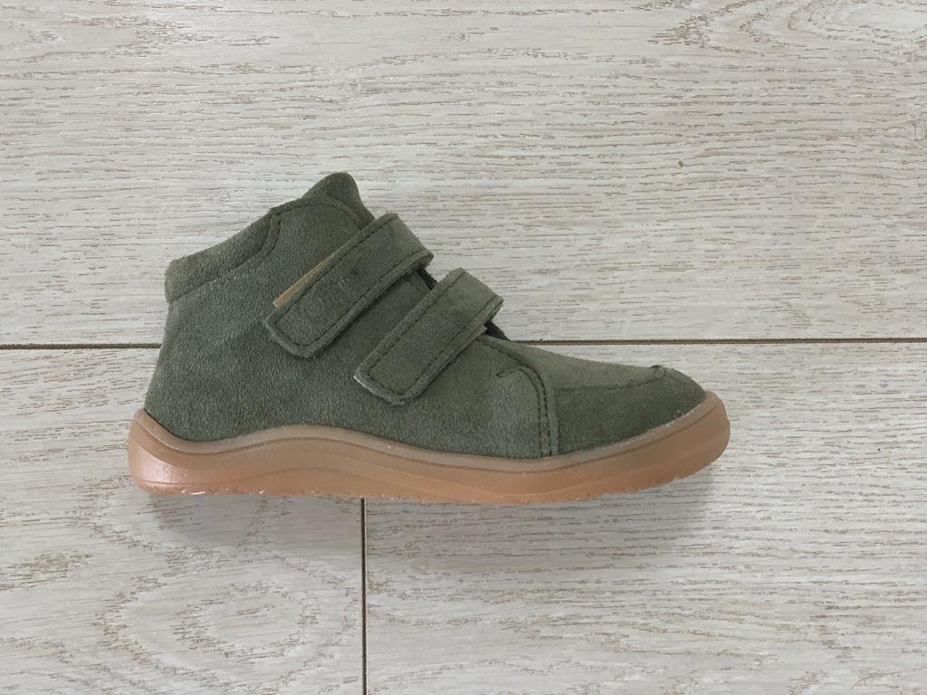 Baby Bare Shoes Febo FALL Khaki Velour + membrána