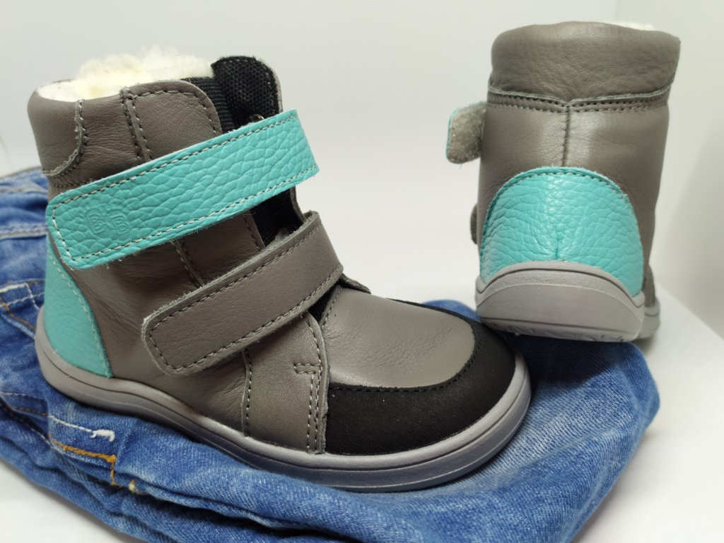 Baby Bare Shoes FEBO WINTER GREY/TYRKYS s asfaltico