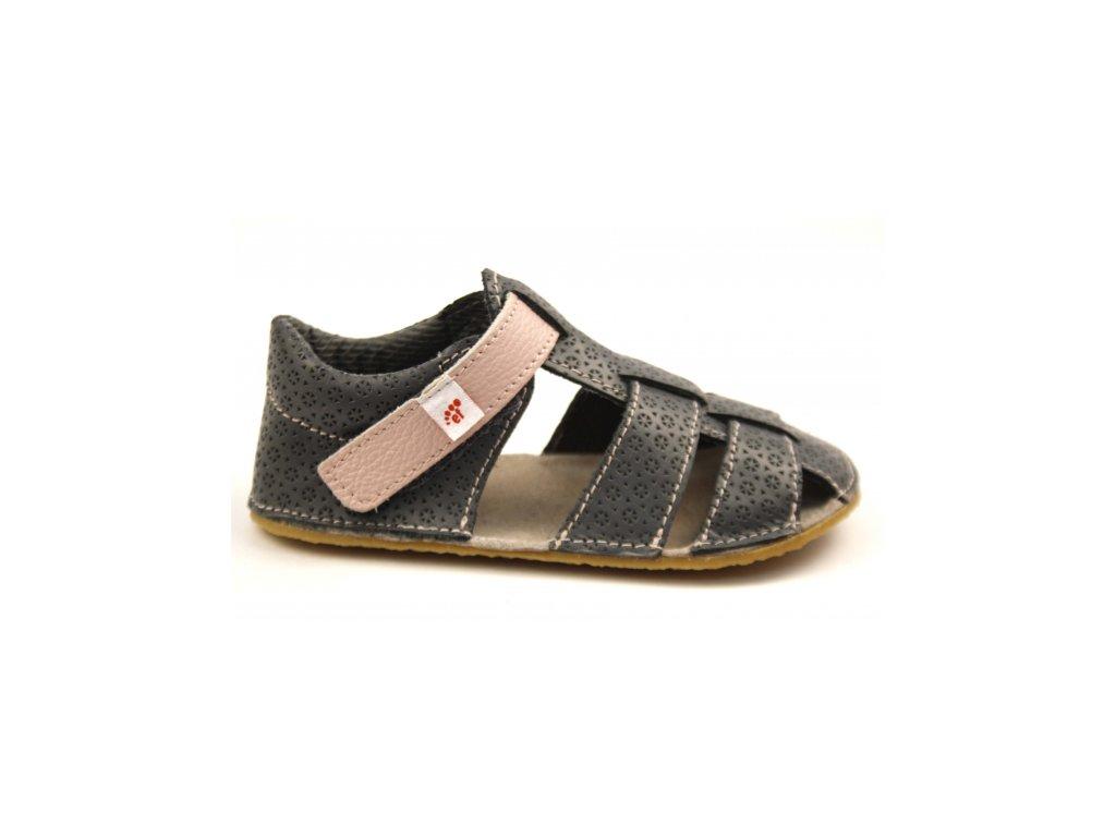 Ef Barefoot sandálky Šedá s ružovou