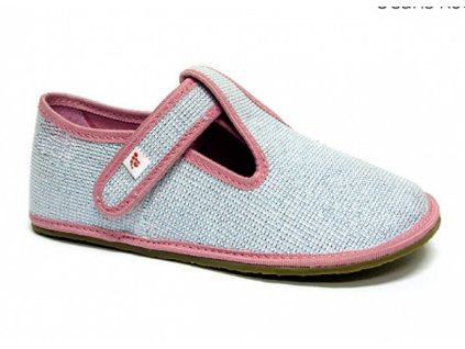 Barefoot papuče EF šedé trblietavé