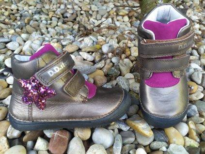 D.D. Step barefoot celoročné kožené topánky vyššie 063  Bronze