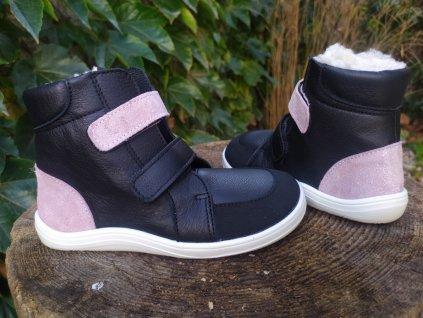 Baby Bare Shoes FEBO WINTER SPARKLE BLACK s okopom asfaltico
