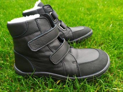 Baby Bare Shoes FEBO WINTER BLACK s okopom asfaltico
