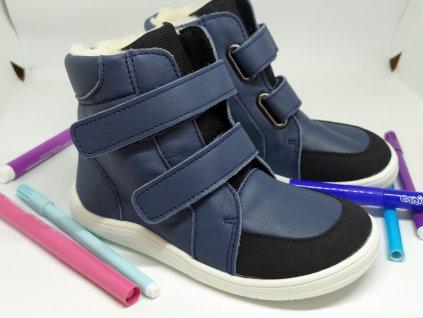 Baby Bare Shoes FEBO WINTER NAVY s okopom asfaltico