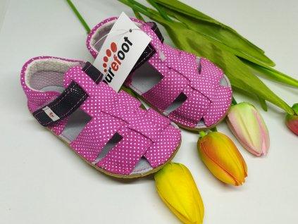 Ef Barefoot sandálky Ružova s čiernou