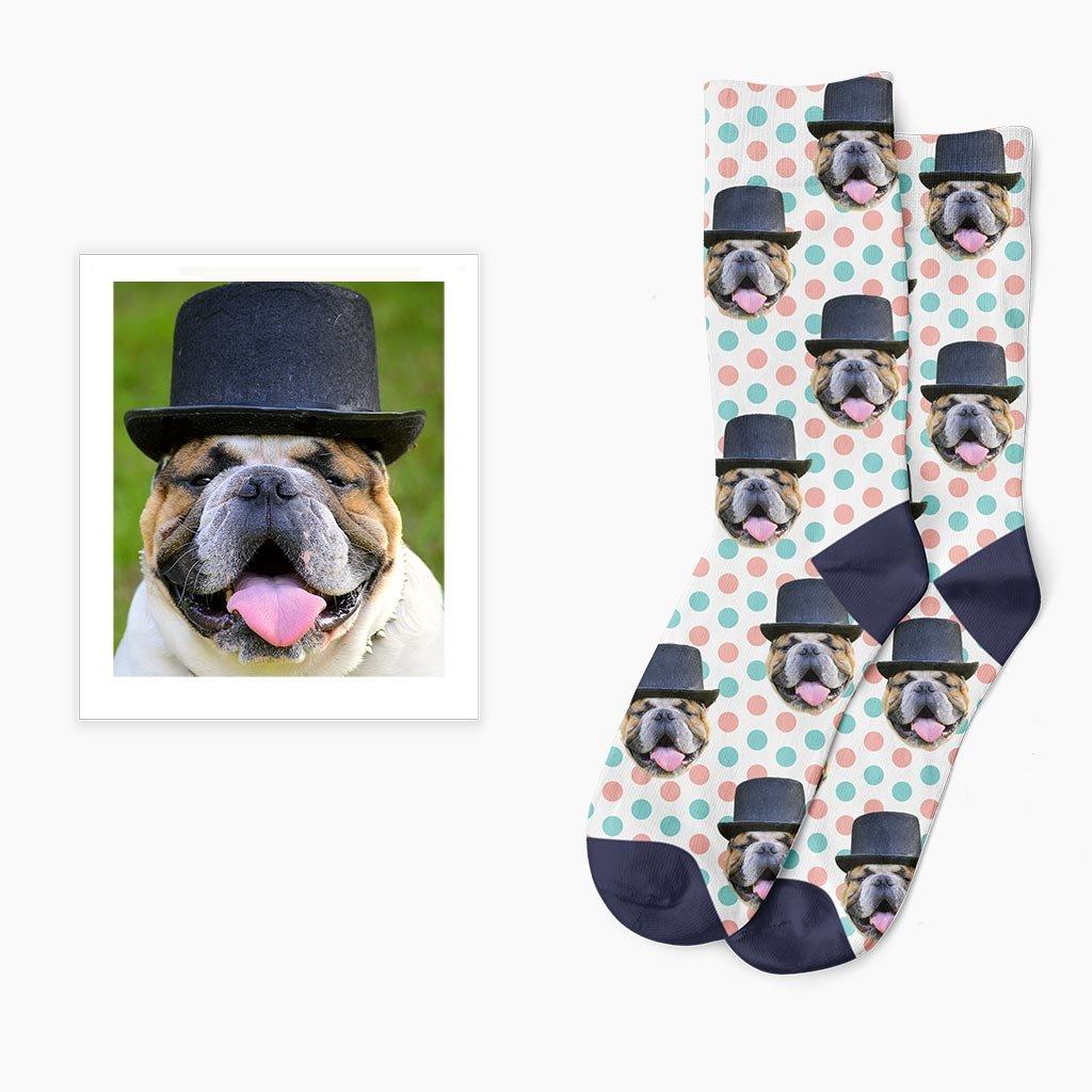 ponožky s puntíky a vlastním potiskem