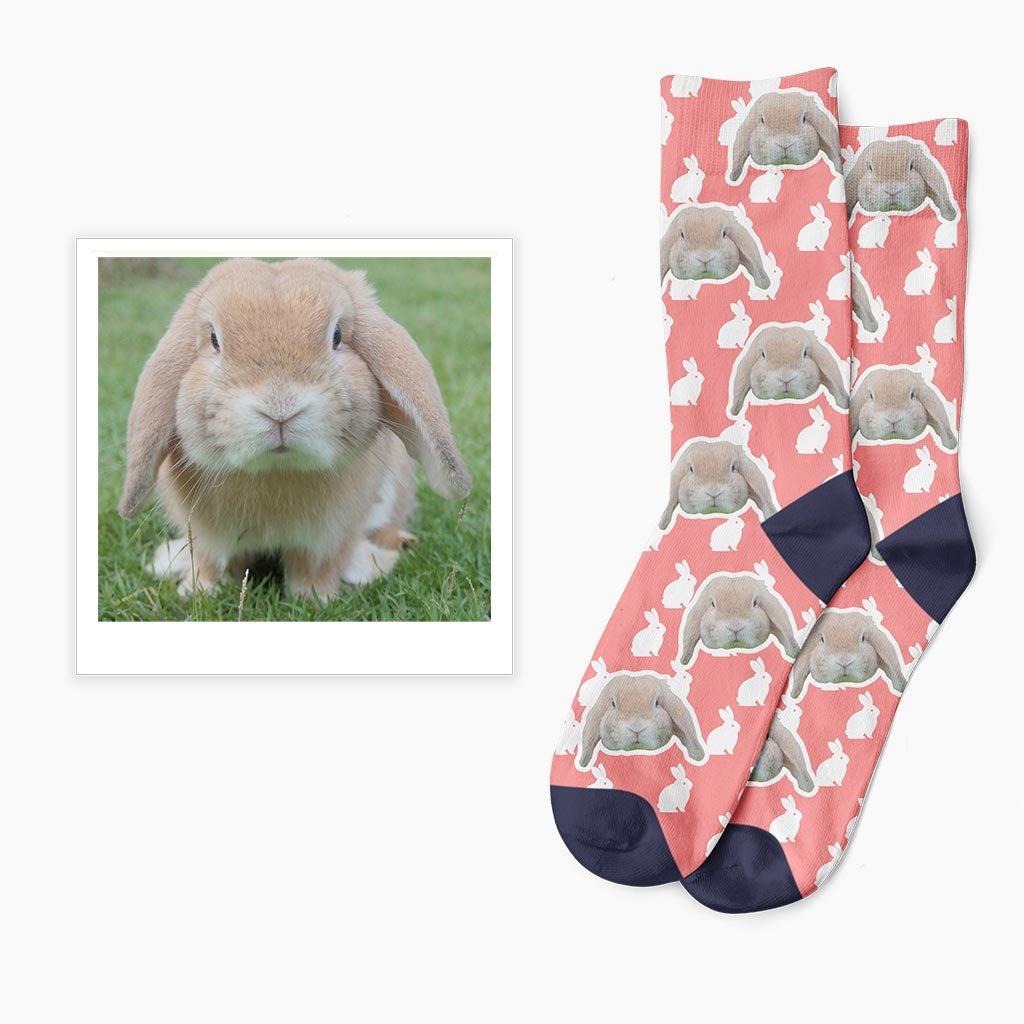 Ponožky s vlastní fotkou králíka