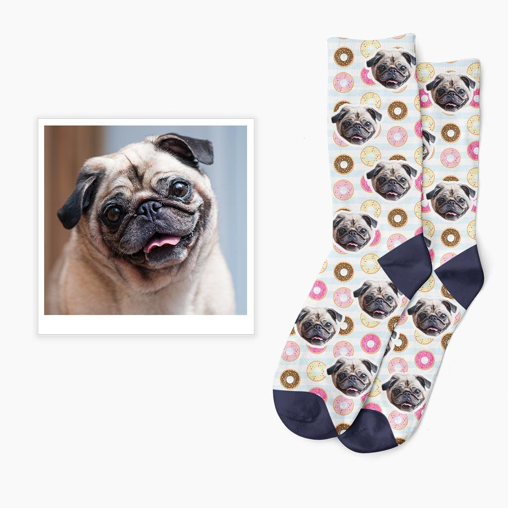 ponožky s vlastní fotkou s vlastním psem donuts