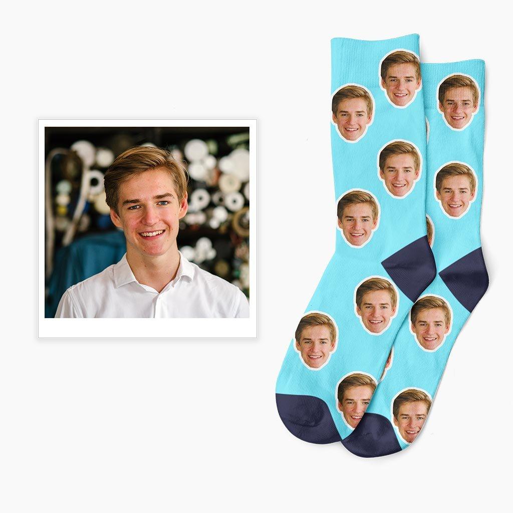 ponožky s vlastní fotkou modré