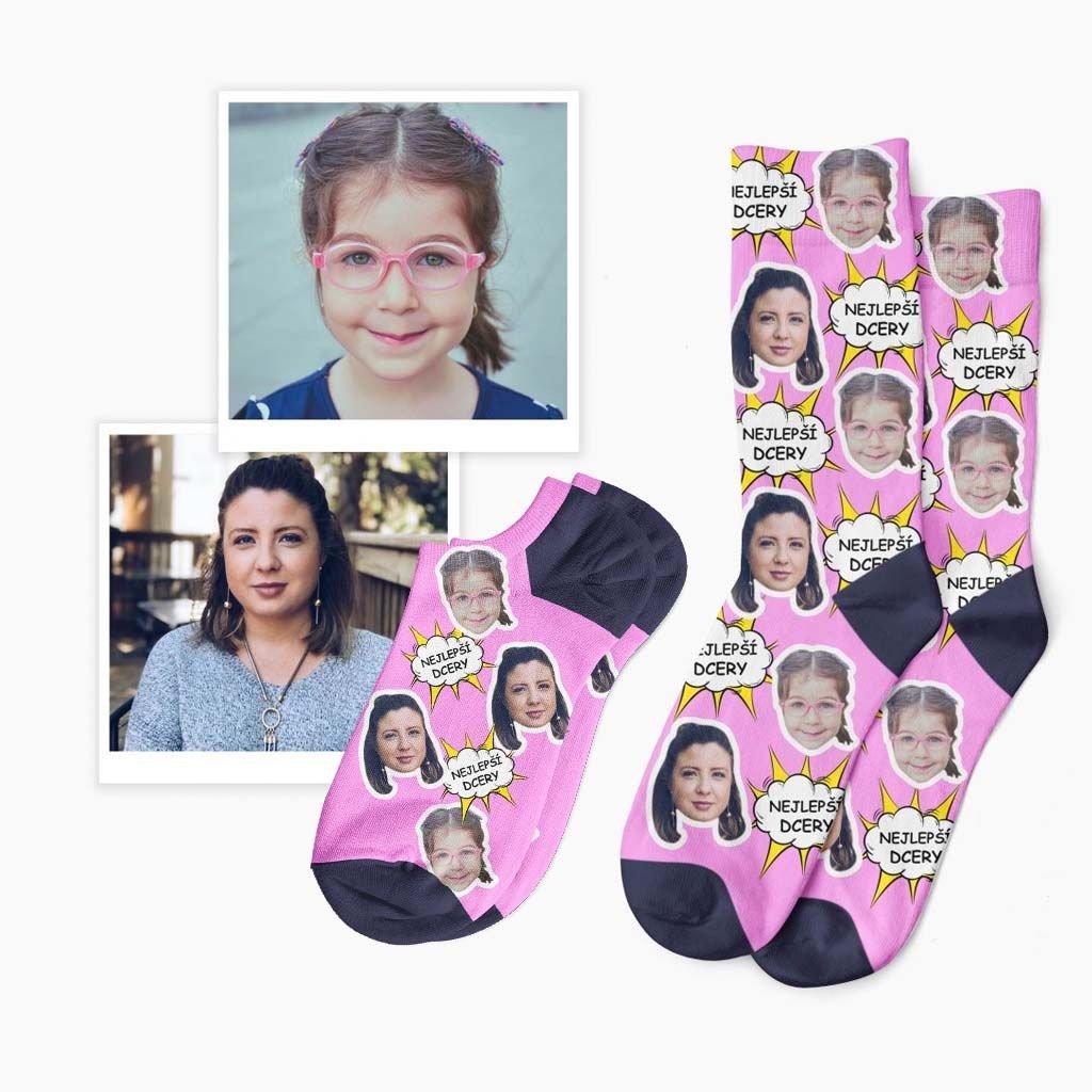 ponožky s vlastním textem a fotkou