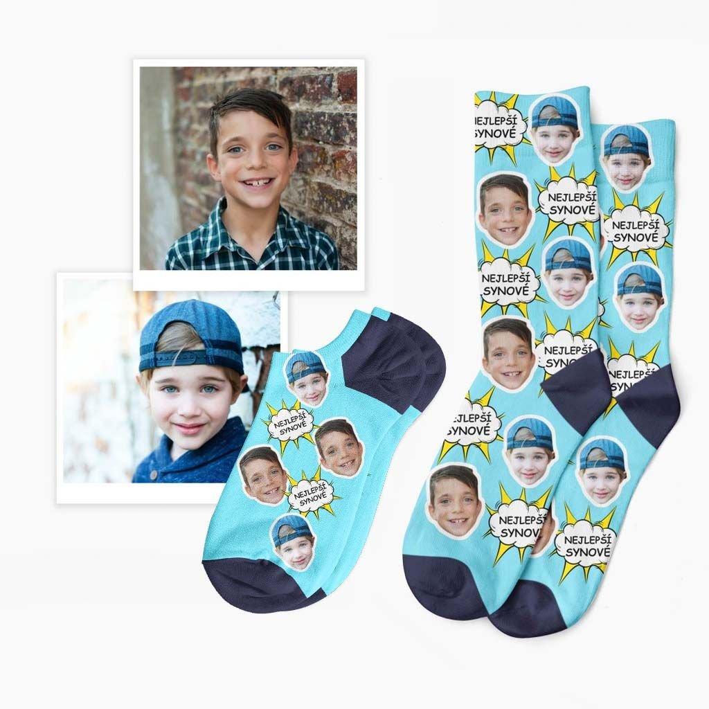 ponožky s vlastní fotkou a textem