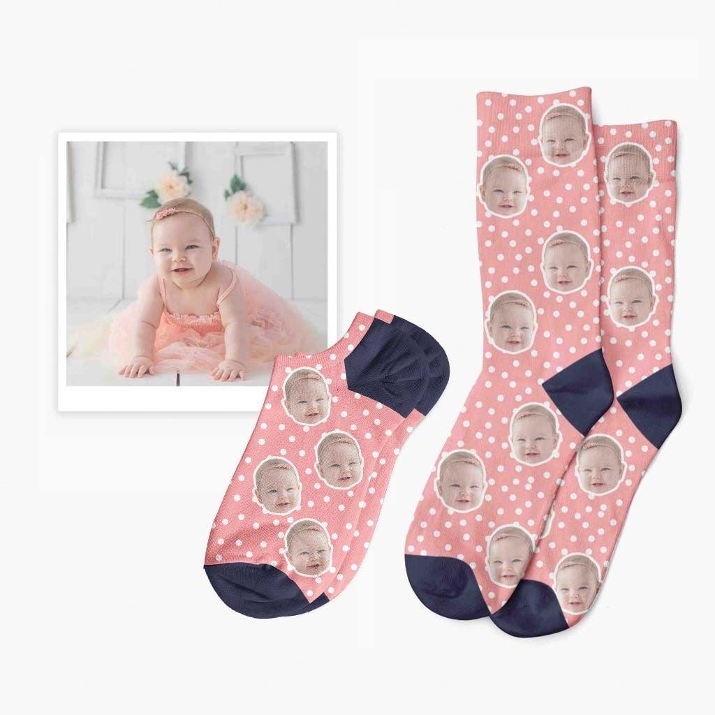 puntíčkované ponožky s fotkou