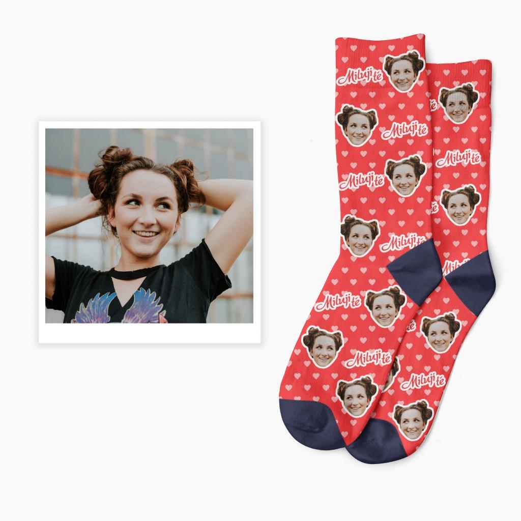 Ponožky na s fotkou na Valentýna