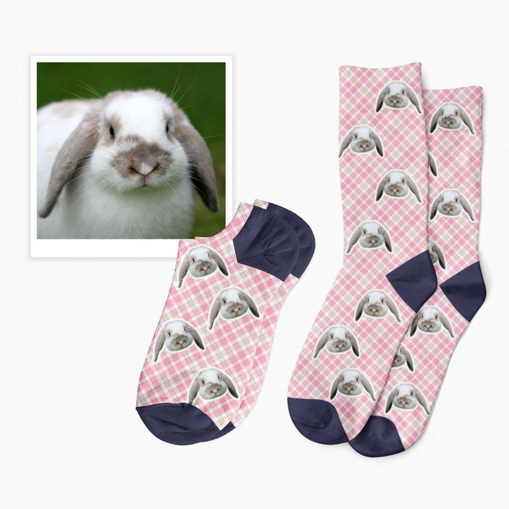 kostkované ponožky s fotkou