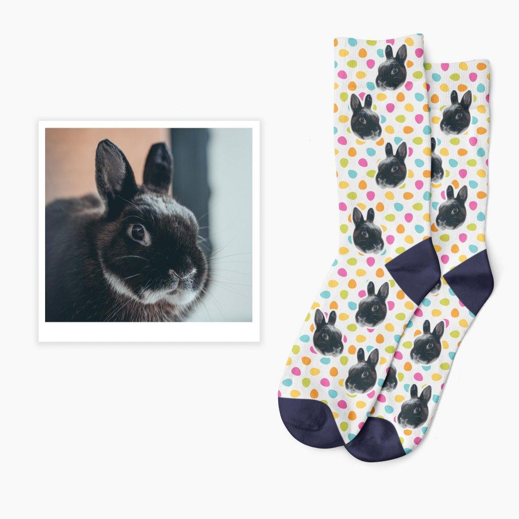 velikonoční ponožky s fotkou