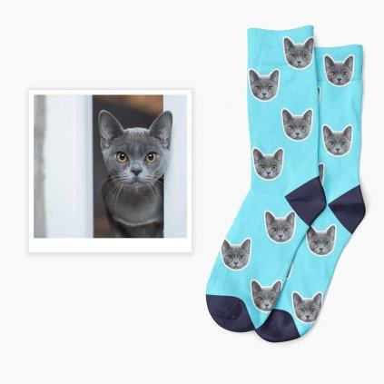ponožky s kočkou modrá