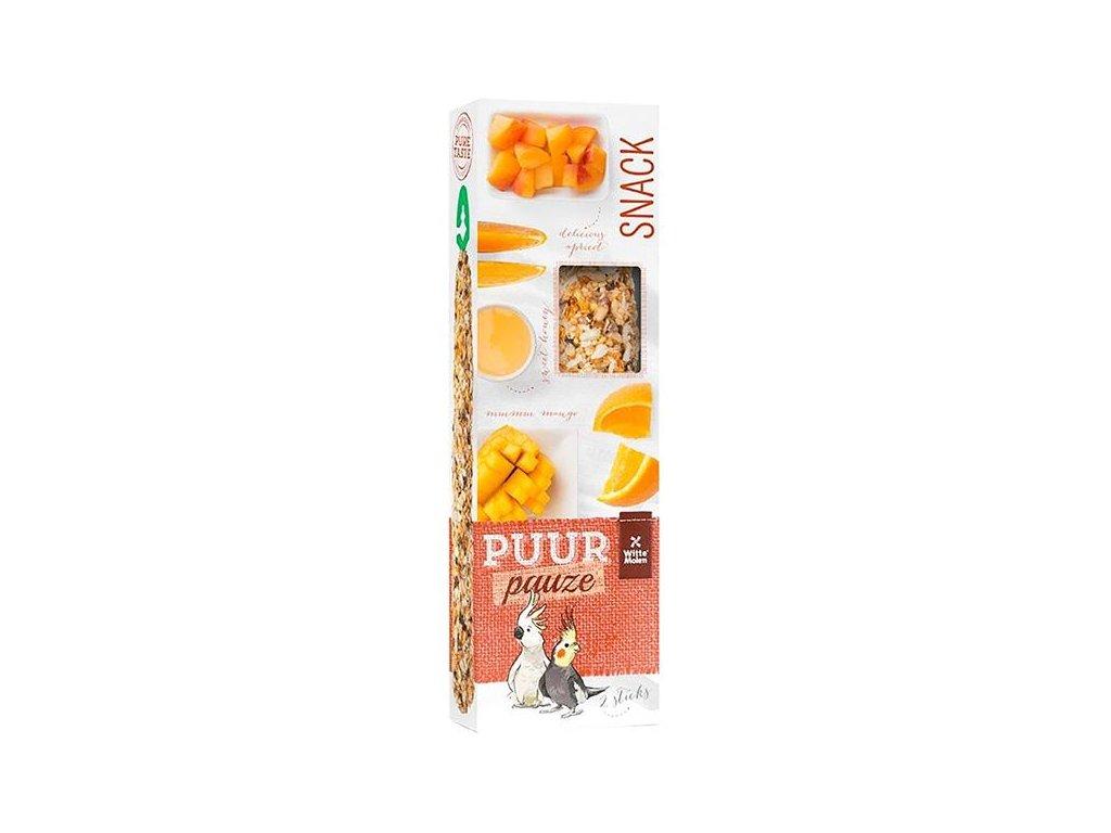PUUR pauze pták - tyč. papoušek, mango+meruňka 140 g