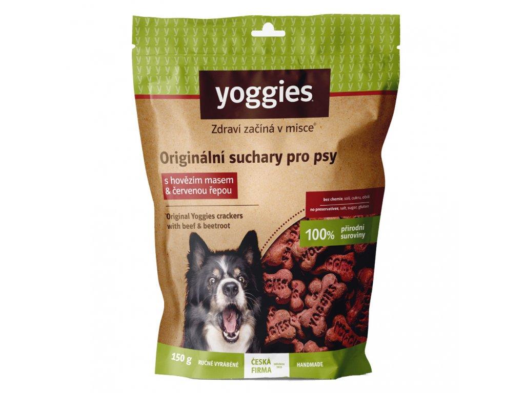 yoggies nove suchary pro psy s hovezim masem a cervenou repou 150g
