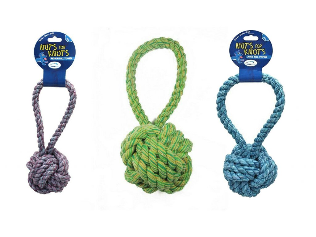 DOG CHEW TOY Nuts 4 Knots BALL TUGGER