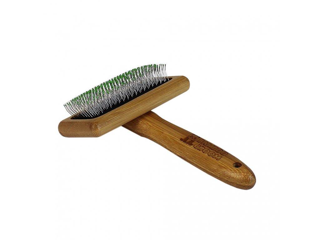 Bamboo Groom Střední jemný kartáč s nerezovými hroty, Finišák