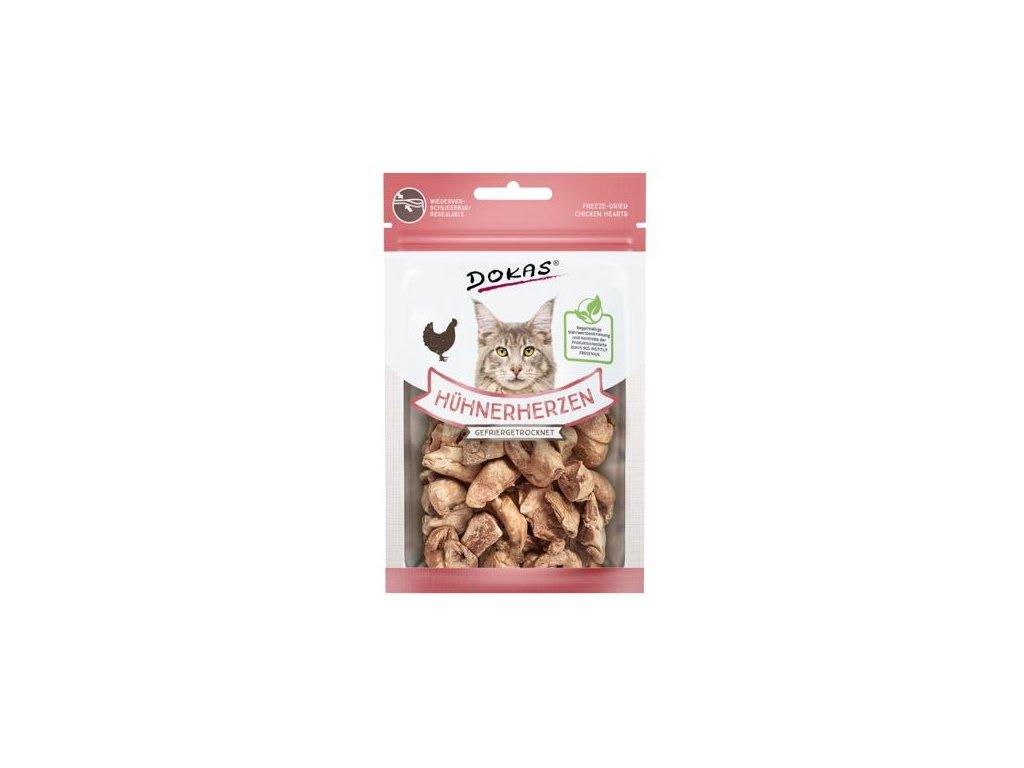 Dokas – Mrazem sušená kuřecí srdíčka pro kočky 15 g