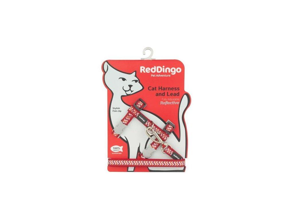 Postroj RD s vodítkem - kočka- Ziggy Rfx - Červená