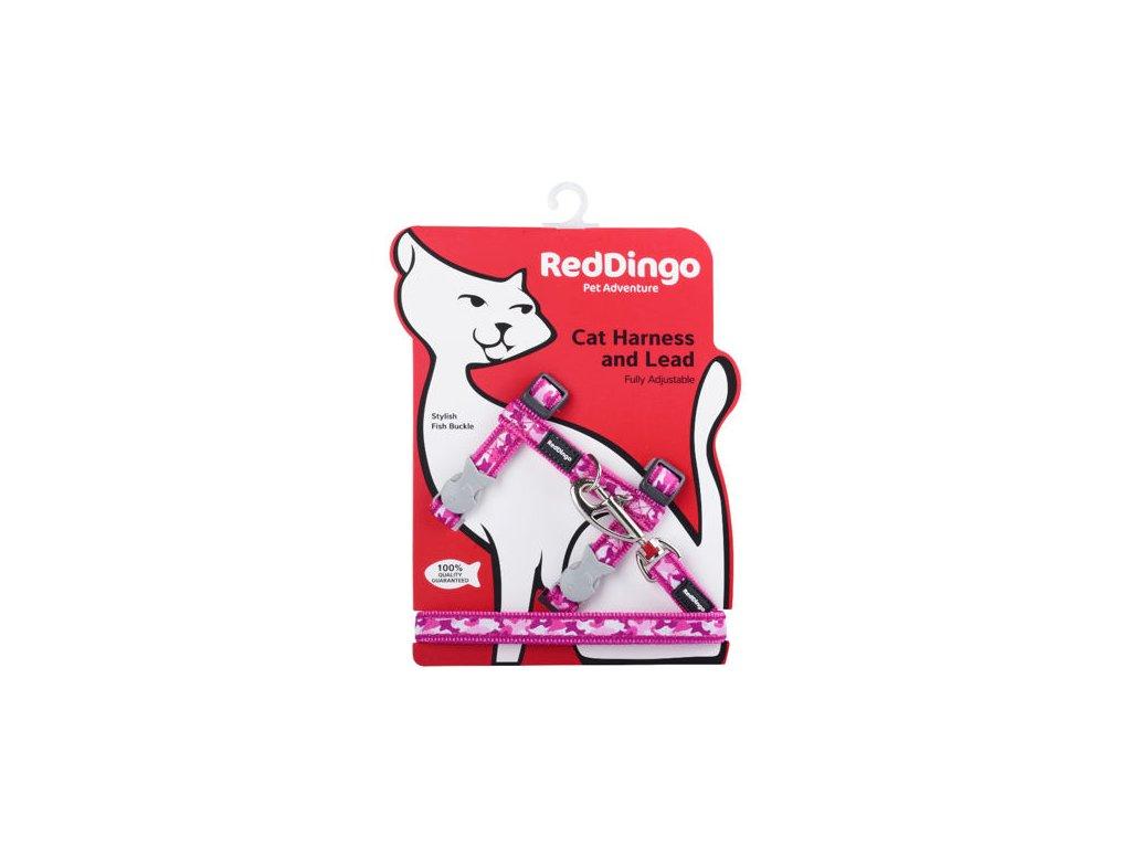Postroj RD s vodítkem - kočka- Camouflage Hot Pink