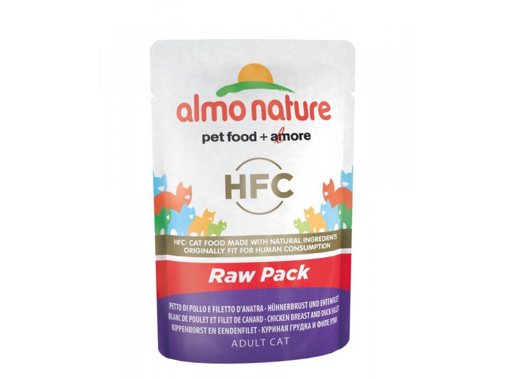 Almo Nature HFC Raw Pack WET CAT - Kuřecí prsa a kachní filet 55g