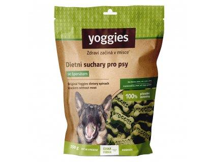 yoggies nove dietni suchary pro psy bez masa a lepku se spenatem 150g