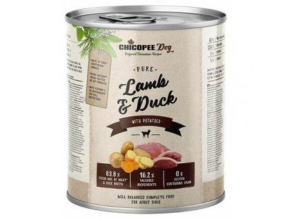 CHICOPEE ADULT čisté jehněčí, kachna, brambory pro psy 800 g