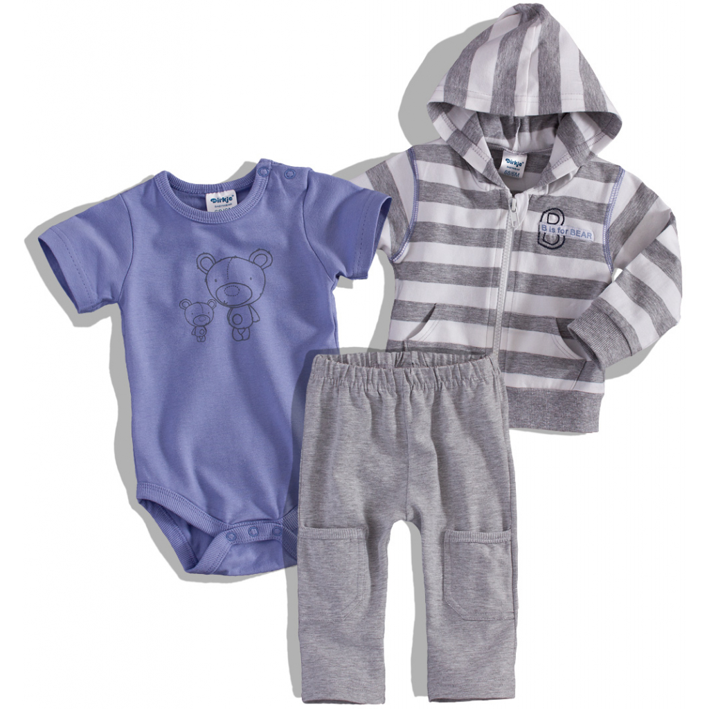 Dojčenská 3-dielna súprava DIRKJE fialovo-sivá