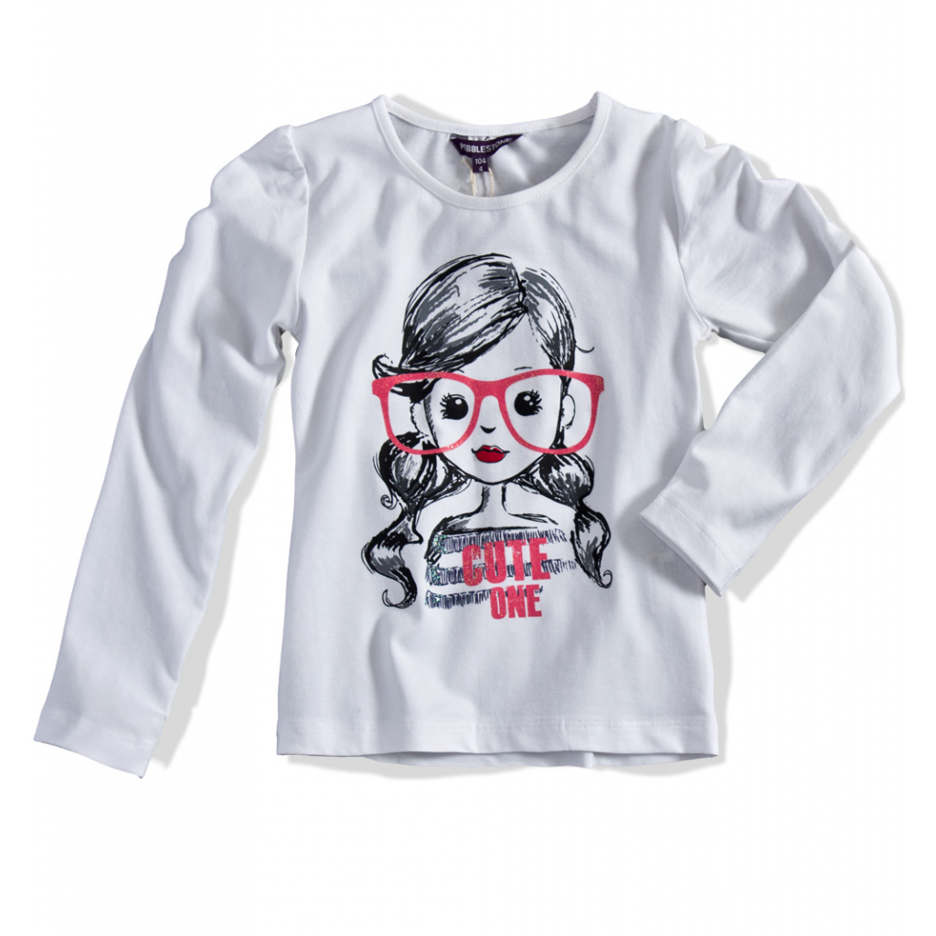 7121332f3db4 Dievčenské tričko dlhý rukáv PEBBLESTONE dievčatko biele - PELEA.SK