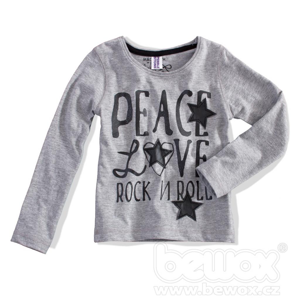Dievčenské tričko dlhý rukáv PEBBLESTONE PEACE bledosivé